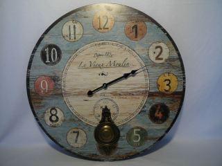 Reloj de pared vintage con péndulo 58 cm.